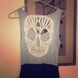High low Skull Lace Back Dress